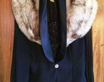 Diana-Midnight Blue Blouse Jacket with Smoke Tipped Maybe Fox Collar with Rhinestone Buttons, Irridescent Beaded Bodice and Sheer Sleeves