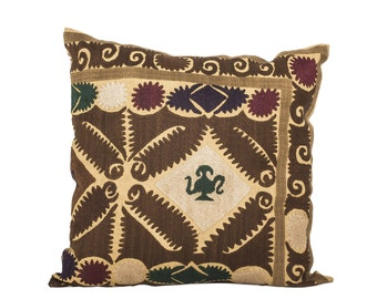 18 x 18 Pillow Cover Suzani Pillow Vintage Suzani Pillow Hand Embroidered Pillow Uzbek Suzani Pillow FAST SHIPMENT with ups or fedex - 07570
