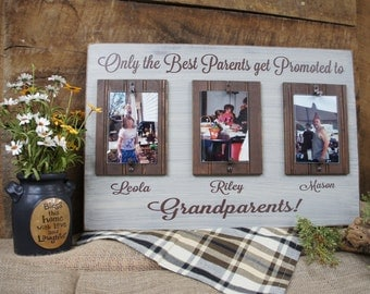 Only the Best Parents Get Promoted to Grandparents Rustic Picture Frame 16x24 Personalized free