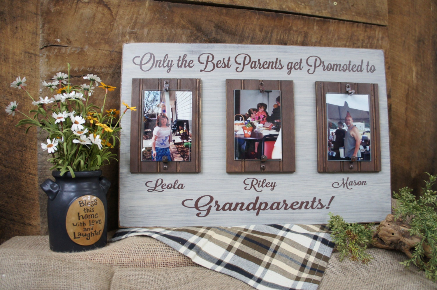 Only the best parents get promoted to grandparents rustic picture sold by expressionsnmore jeuxipadfo Images