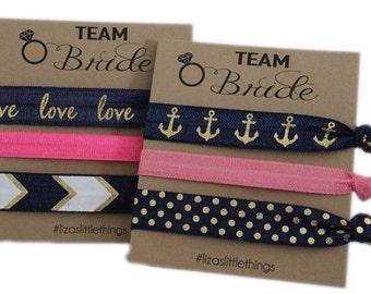 Blue Hair ties. Foe Gift. Bridesmaids hair ties. Fold over Elastic wedding gifts. Friendship Foe hair ties. Bachelorette party
