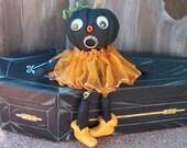 """OOAK Art Doll """" PUMPKIN HEAD""""  Shelf sitter Halloween Hand sculpt  Polymer By connie"""