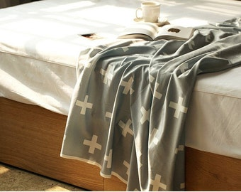 """Cross Smooth Minky Fabric - White Cross on Gray - 59"""" Wide - By the Yard 84430"""
