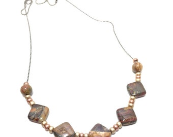 Red Creek Jasper Sliding Stone Necklace - Ball Chain