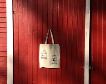 Reusable Canvas Tote Bag 100% Cotton  Natural color with Vintage Birdcages