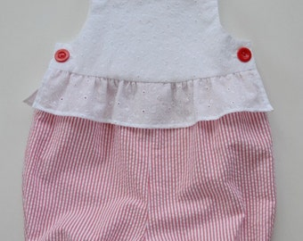 Charming infant girl's bubblesuit in white eyelet and striped seersucker. Cool and feminine.  Ruffle at waist.  Newborn to 18 months.
