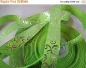 swirl ribbon, green swirl ribbon, 7/8 inch Ribbon, foil ribbon, grosgrain ribbon, craft supplies, silver, Filler ribbon,  RN14728