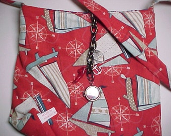 """Crossbody Bag  Reversible """"SAILING""""  Washable  Sling Purse with Keychain / Bagcharms"""