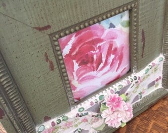 VINTAGE CHINA MOSAIC Picture Frame-  Limoges China - Porcelain Pink Flowers - Shabby Olive Green Frame - Pink Floral Limoges China