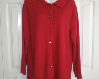 Coldwater Creek 100% cashmere cardigan, long red button front sweater, cardigan sweater, medium large red sweater