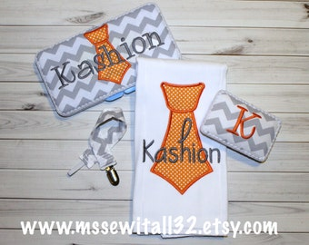 4 piece Baby Shower Gift Set - 1 Burp Cloth / Paci Case / Paci Clip / Wipes Case - Gray Chevron with Tie Applique