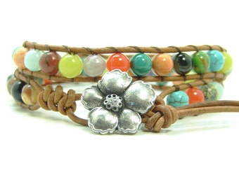 Gemstone Beaded Leather Wrap Bracelet, Mixed Gemstone Double Wrap Bracelet, Boho Style Wrap