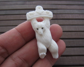 Gorgeous carved Little Bear Pendant , Buffalo  Bone carving, Jewelry making Supplies B5349