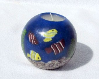 Stained Glass Aquatic Scene Candle - Cobalt Blue Deep Sea Water with Tropical Fish Plants and Sand