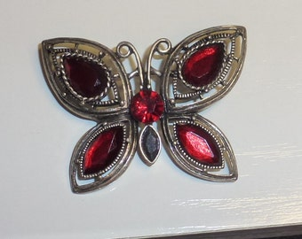 Vintage Butterfly Brooch with Red Stones Filigree Setting Pin Back