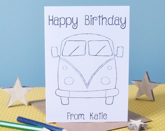 Happy Birthday Colour in Card, Campervan Card, Blank Happy Birthday Card