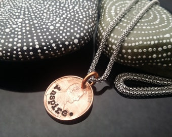 Inspire  hand stamped lucky penny necklace on stainless steel chain by D2E Gallery