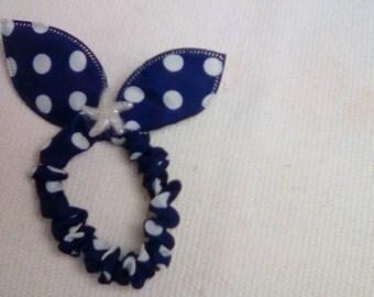 Rabbit Ear Fabric Ponytail Holder & Bun Wrap - Navy/White Polka Dot Ponytail Holder - Navy Hair Tie - Bunny Ear Hair Tie - Navy Bunny Ears
