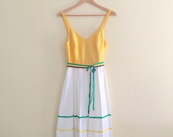 Vintage Color Block Pleated Sundress // Yellow & White Dress // 60s