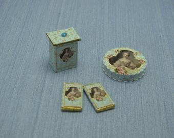 Gaël  Miniature Dollhouse Marie Antoinnete  box chocolate bar packing  for Dollhouse, shabby chic  Home Decor Accessory. Handmade miniatures