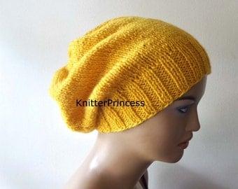 Slouchy hat,womens slouchy hat, mens slouchy hat, mustard hat, knitting beanie, handmade knitting hat, fall fashion, boho style hat