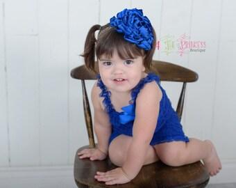 royal blue singed flower headband, giraffe print headband, handmade flower headband