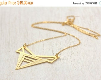 BIG SALE Delicate gold necklace, delicate gold necklace with unique pendant. Geometric hand made gold necklace