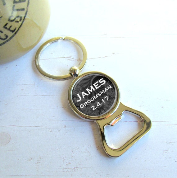 groomsman gifts bottle opener keychain personalized. Black Bedroom Furniture Sets. Home Design Ideas