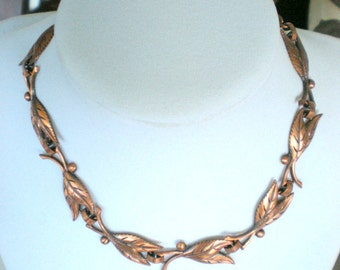 Vintage Choker Necklace Copper Leaves 16 Inch