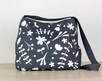 Messenger bag -  white floral - charcoal hemp and organic cotton - screen printed and handmade