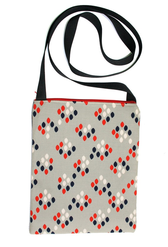 SALE! Retro, dots, Zipster, cross body bag, flat bag