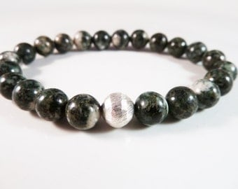 Preseli Bluestone Stretch Bracelet with Sterling Silver Karen Hill Tribe Focal Bead 8mm Smooth Round Dolerite Beads RARE!!!