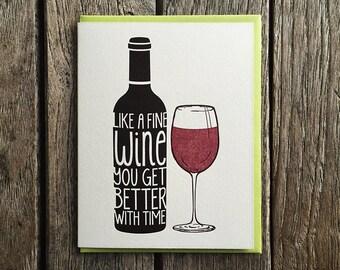Fine Wine Birthday Letterpress Card