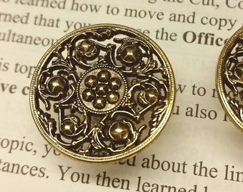 """Antique gold medallion plugs - up to 1"""""""