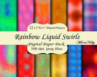 "Instant Download - Digital Scrapbook Paper - Liquid Rainbow Swirls - MK115 - 12 12""x12"" Digital Paper - Collage Sheets - Scrapbooking Paper"