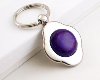 Unique Key Chain, Silver Key Ring , Purple Glass, Dichroic Cabochon, Four Leaf Clover Keychain, Car Accessories, One of a Kind Gifts