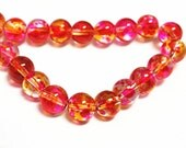 31 Inch Strand Of  Glass Spray Painted 8mm glass beads(over 100 beads)-7606N