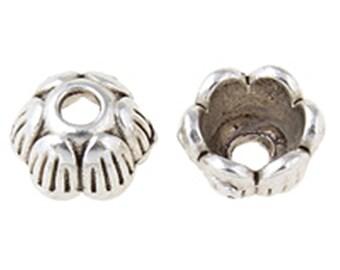 24PC 6mm antique silver finish metal bead caps-8548Q