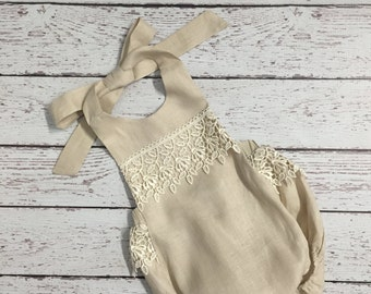 Beige Linen Baby Girl Romper with Lace Trimming
