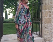Made to Order. The Flower Drum Song Full Length Crossover Wrap pure Silk Chiffon Dress Kaftan by LaMolli Molly Kaftans