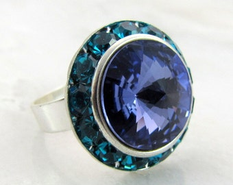 Tanzanite on Blue Zircon Swarovski Crystal Ring Adjustable Silver Halo
