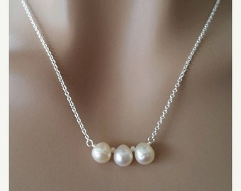 ON-SALE THREE Teardrop White Freshwater Pearl Necklace - Bridesmaid Jewelry, Wedding Gift