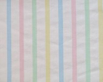 One Yard of Vintage Sheet Fabric - Pastel Stripe - 1 yd