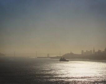 "San Francisco photography print / California bay area minimal city skyline art decor / blue grey minimal large wall art / ""USS Somerset SF"""