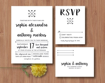 Wedding Invitation & RSVP Postcard - Arrows Wedding Rustic Wedding Woodland Wedding - Printable DIY