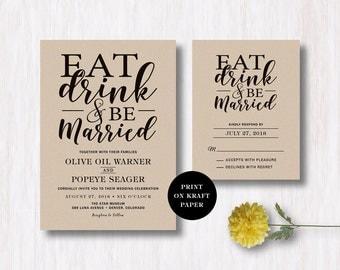 Eat Drink and Be Married Wedding Invitation & RSVP Card - Kraft Paper Invitation - Rustic Wedding - Wedding Invitation Printable