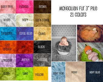 """18""""x30"""" Mongolian faux fur basket stuffer, newborn photography,   19 colors available 3"""" pile"""
