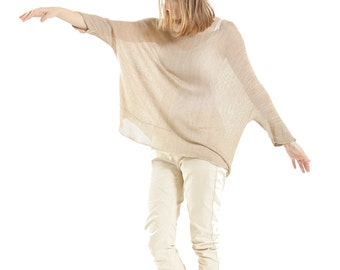 Ivory  Oversized sheer top ,Transparent Natural knitted Oversized shirt, Sand  blouse