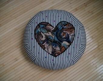 "Meditation Cushion. Floor Pillow. Zafu. Black/White Pillow Ticking w. Heart applique. UNFILLED COVER. 15""x5"". 5""L. Zipper. USA made."