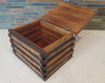 Wine Barrel Stave Recipe Box, Recipe Box, Wine Stave, Wine Barrel Stave, Wood Recipe Box, Rustic Recipe Box